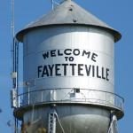 The  famous Fayetteville water tower.